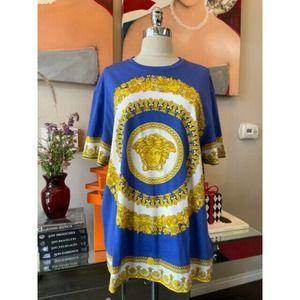 Versace Sz 3XL Blue Gold Medusa Floral T-shirt